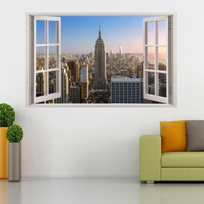 New York City Skyline 3D Window Wall Sticker Decal H88