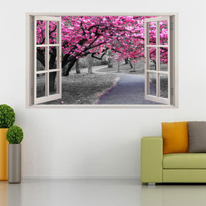 Pink Blossom Prunus Persica Trees 3D Window Wall Sticker Decal H95