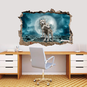 White Wolves Full Moon 3D Smashed Broken Decal Wall Sticker J1165