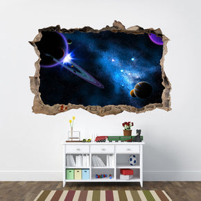 Space Galaxy Interstellar Stars 3D Smashed Broken Decal Wall Sticker