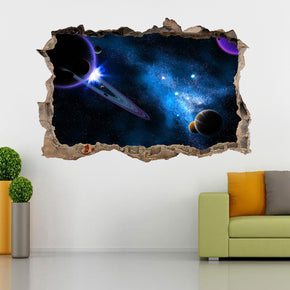 Space Galaxy Interstellar Stars 3D Smashed Broken Decal Wall Sticker J1187