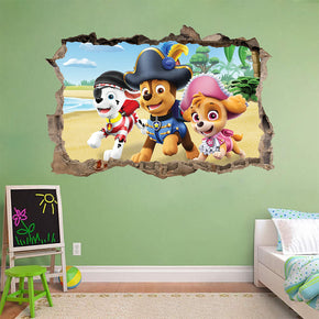 Paw Patrol Marshall Chase Skye 3D Smashed Broken Decal Wall Sticker J1210