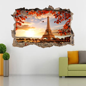 Paris Autumn Eiffel Tower 3D Smashed Broken Decal Wall Sticker J1241