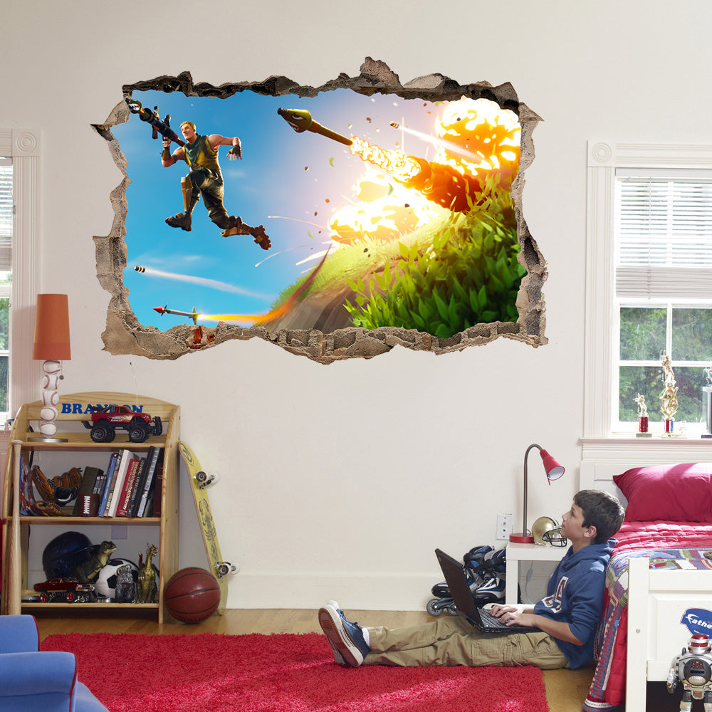 Battle Royale Classic Original 3D Smashed Wall Breakout Sticker Kids Bedroom FPS