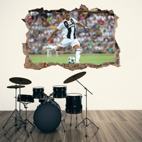 Cristiano Ronaldo 3D Smashed Wall Illusion Decal Wall Sticker J1329