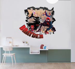 Spider-Man Into The Spider Verse Personalized 3D Smashed Decal Wall Sticker TR02
