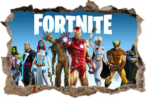 FORTNITE - Marvel Superheroes Nexus War 3D Smashed Hole Illusion Decal Wall Sticker J1508