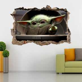 Baby Yoda The Mandalorian 3D Smashed Broken Decal Wall Sticker J1513