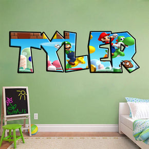 Super Mario Bros Personalized Custom Name Wall Sticker Decal J237