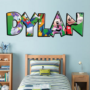 Mickey & Friends Personalized Custom Name Wall Sticker Decal 005