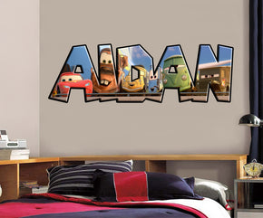 Cars Movie Personalized Custom Name Wall Sticker Decal J244
