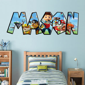 Paw Patrol Personalized Custom Name Wall Sticker Decal 001