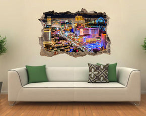 Las Vegas Strip City Landscape 3D Smashed Broken Decal Wall Sticker J340