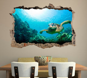 Sea Turtle 3D Smashed Broken Decal Wall Sticker J388