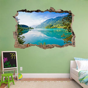 Turquoise Mirror Lake 3D Smashed Broken Decal Wall Sticker
