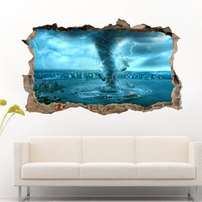 Tornado Storm 3D Smashed Broken Decal Wall Sticker
