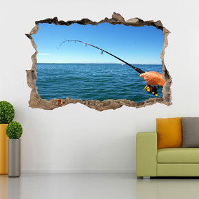 Fishing 3D Smashed Broken Decal Wall Sticker
