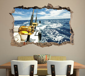 Boat Fishing 3D Smashed Broken Decal Wall Sticker