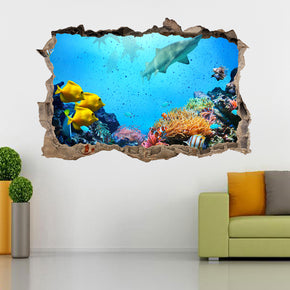 Tropical Fish Shark Reef 3D Smashed Broken Decal Wall Sticker J881