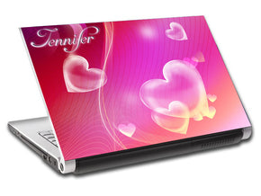 Bubble Hearts Personalized LAPTOP Skin Vinyl Decal L03