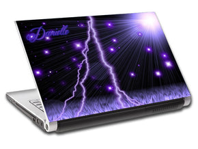 Purple Lightning Personalized LAPTOP Skin Vinyl Decal L42