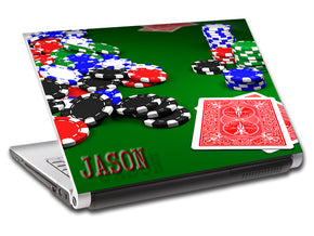 Poker Texas Hold'Em Chips Personalized LAPTOP Skin Vinyl Decal L451