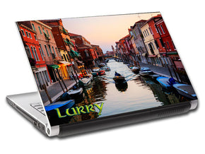 Venice Canal Landscape Personalized LAPTOP Skin Vinyl Decal L536