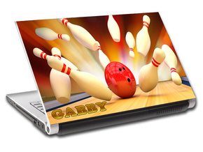 Bowling Ball Pins Personalized LAPTOP Skin Vinyl Decal L564