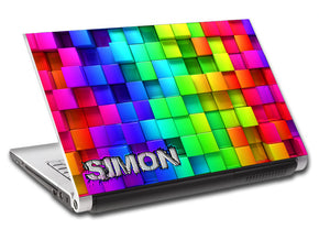 Colorful Blocks Personalized LAPTOP Skin Vinyl Decal L601