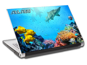 Tropical Fish Shark Reef Personalized LAPTOP Skin Vinyl Decal L717