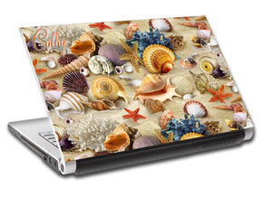 Seashells On Beach Personalized LAPTOP Skin Vinyl Decal L719