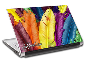 Colorful Feathers Personalized LAPTOP Skin Vinyl Decal L725