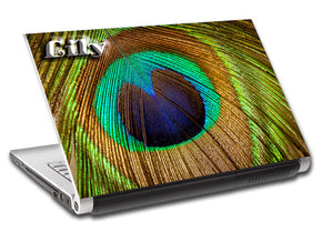 Peacock Feather Personalized LAPTOP Skin Vinyl Decal L726