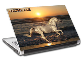 White Horse At Sunset Personalized LAPTOP Skin Vinyl Decal L783