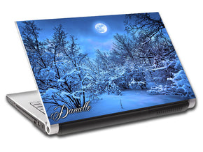 Snowy Forest Full Moon Personalized LAPTOP Skin Vinyl Decal L798
