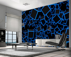 3D BLUE NEON CUBES Woven Self-Adhesive Removable Wallpaper Modern Mural M01