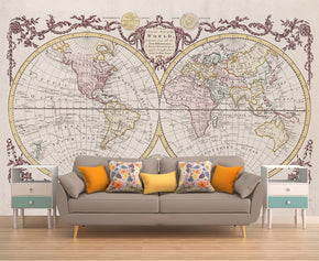 Ancient World Map Woven Self-Adhesive Removable Wallpaper Modern Mural M02