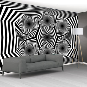 Illusion Black & White Pattern Woven Self-Adhesive Removable Wallpaper Modern Mural M103