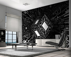 3D Illusion Black & White Woven Self-Adhesive Removable Wallpaper Modern Mural M104