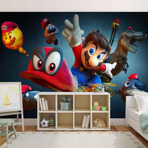SUPER MARIO BROS ODYSSEY Woven Self-Adhesive Removable Wallpaper Modern Mural M109