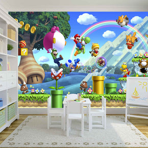 SUPER MARIO BROS SCENERY Woven Self-Adhesive Removable Wallpaper Modern Mural M110
