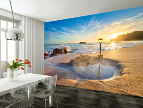 Exotic Beach Sunset Woven Self-Adhesive Removable Wallpaper Modern Mural M11