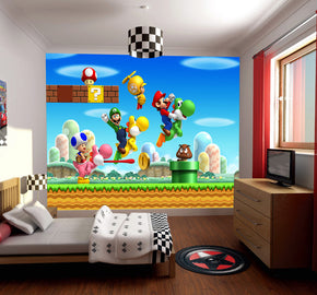 SUPER MARIO BROS SCENE Woven Self-Adhesive Removable Wallpaper Modern Mural M123