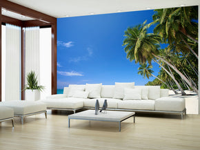 Tropical Palm Beach Woven Self-Adhesive Removable Wallpaper Modern Mural M12
