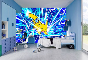 Pokemon Pikachu Woven Self-Adhesive Removable Wallpaper Modern Mural M156