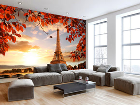 Paris Sunset Woven Self-Adhesive Removable Wallpaper Modern Mural M162