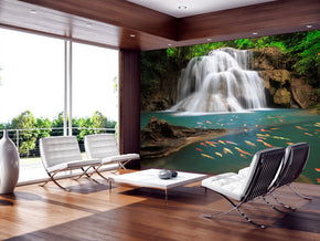 Waterfall Forest Woven Self-Adhesive Removable Wallpaper Modern Mural M181