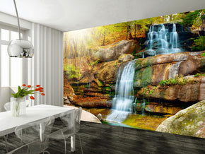 Waterfall Fantasy Woven Self-Adhesive Removable Wallpaper Modern Mural M182