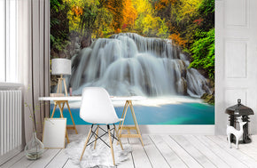 Magical Waterfall Forest Woven Self-Adhesive Removable Wallpaper Modern Mural M184