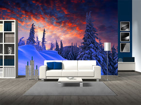 Purple Winter Sunset Woven Self-Adhesive Removable Wallpaper Modern Mural M185